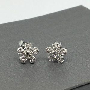 18K White Gold CZ Flower Stud Earrings